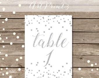 Printable Wedding Table Numbers 1-30, Printable Silver Table Numbers, Silver Confetti Tabletop Numbers Printable, Reception Table Numbers