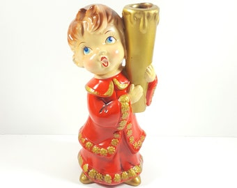 Vintage Red Choir Boy Candle Stick Holder. Christmas Candle Holder. Kitsch Christmas Decorations. Made in Japan. Vintage Paper Mache.