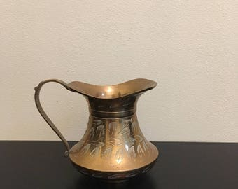 Brass Creamer with Floral Etchings