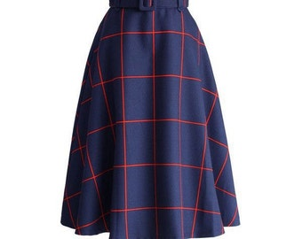 Blue/Red plaid a-line skirt
