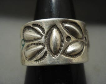 Important Navajo Ray Adakai Thick Silver Repoussed Ring