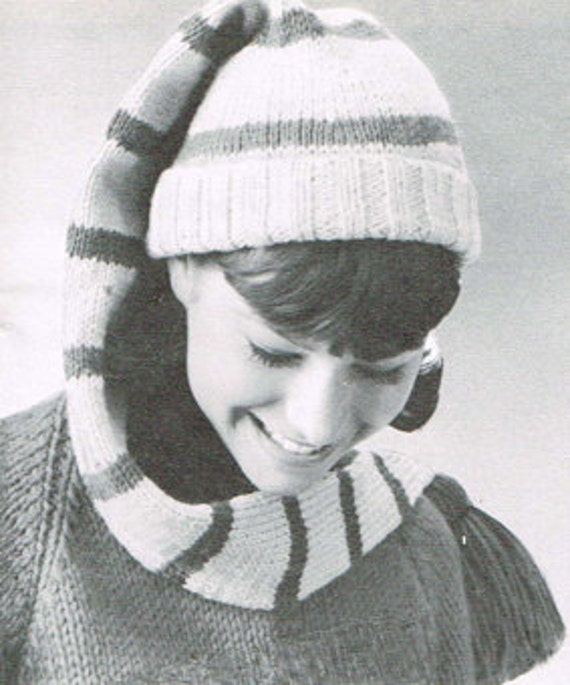 Knit Stocking Cap Pattern : Vintage knitting pattern Long stocking cap PDF knitting