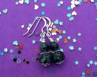 Ruby zoisite earrings / bridesmaid earrings / green earrings / everyday earrings / casual earrings / delicate earrings / dainty earrings
