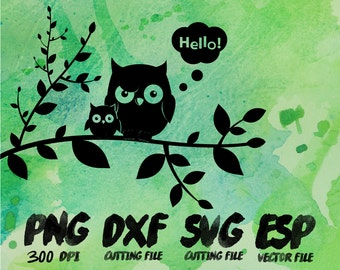 Owls Hello Silhouette , SVG Cutting , ESP Vectors files , T shirt , iron on , sticker ,Personal Use