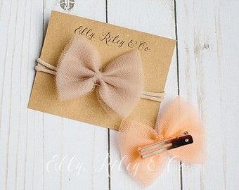 Tessa Tulle Bow - on headband or clip - newborn bows, baby bows, baby headbands