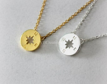 Compass necklace - Dainty Chain - Silver- Gold - BFF Gift - BFF Necklace - Best Friend - Friendship - Sister Gift - Gift Ideas - Mother Gift