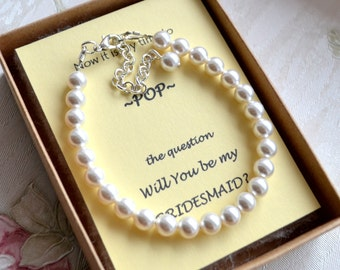 Bridesmaid bracelet set of 4 Bridesmaid gift Pearl bracelet Simple pearl jewelry Ivory Off white bracelet Wedding jewelry Bridal bracelet
