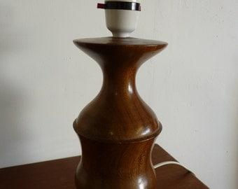 VINTAGE Teak LAMPBASE  1960s Modernist Turned Solid Wood Mid Century