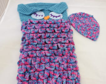 pink/purple blue owl baby cocoon- 6mo-12mo size