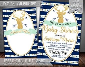 Tribal Deer Baby Shower Invitation, Antler Baby Shower Invitation, Navy Teal Mint Gold, Digital File or Printed #542
