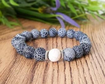 Agate mens bracelet, grey stone bracelet, Fathers Day, simple mens bracelet, gift for husband, gift for him, ying yang bracelet