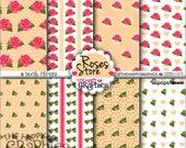 80%OFF - Shabby Chic Paper, Digital paper, Floral Roses, Printable Paper, Scrapbook Paper, Floral Background, Vintage Paper, Pastel, Roses