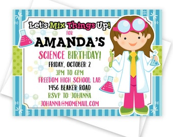 Girl Scientist Party Printable Invitation, Custom Printed Party Invitation or DIY Science Party Invitation, Birthday Party Invitation