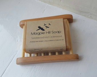 Sandalwood and Cedarwood Handmade Soap with Wooden Soap Dish. 3 soap dish choices