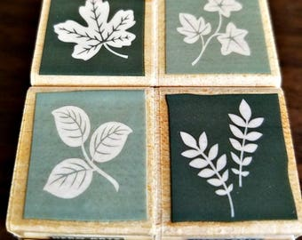 "Hero Arts - Quatros Stamps - ""Leaf Blocks"" Stamp Set - Set of 4 - 1 x 1 x 1 1/4 Inch - Ready To Ship"