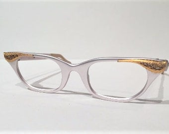 Tura 60s Pink Cat Eye Glasses Frames, New Old Stock, Tura Pink Cateye Aluminum Gold Scroll Design Eyeglasses, 50s Pink Cateye Glasses