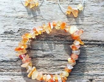 Sunshine citrine hoop earrings and bracelet set