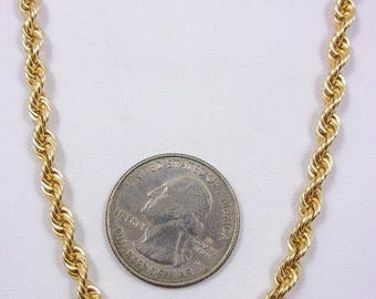 """Solid 14K Yellow Gold 20"""" 4.3mm Heavy Rope Link Chain Necklace, 27.5 grams"""