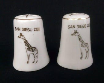 Vintage Japanese Made White w/ Gold Trim San Diego Zoo Salt and Pepper Shakers
