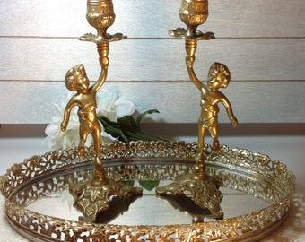 Cherub Candlesticks Cherub Collector Cherub Candlestick Holders Brass Cherubs Brass Candlesticks Hollywood Regency Candlesticks