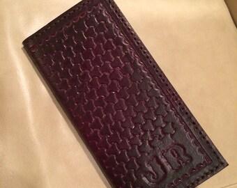 Handcrafted Leather Roper Wallet - Basketweave Design - Mens Wallet