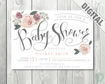 Floral Hand Lettered Baby Shower Invitation  |  Digital | Watercolor Flowers | Hand Lettered | Printable | Baby Shower
