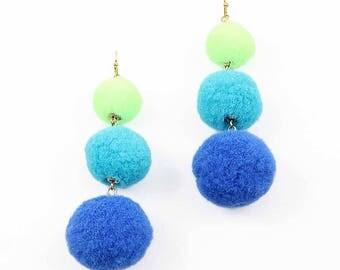 Jumbo 3-Tiers Blue Green Pom Pom Earrings