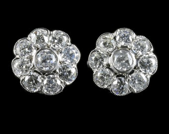 Antique Victorian Old Cut Diamond Cluster Earrings 1.80ct White Gold