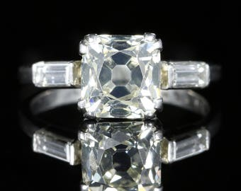 Antique Art Deco Diamond Engagement Ring Platinum 2ct Cushion Cut Solitaire
