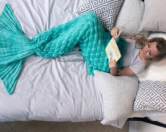 Adult Size Mint Turquoise Mermaid Fish Tail Blanket