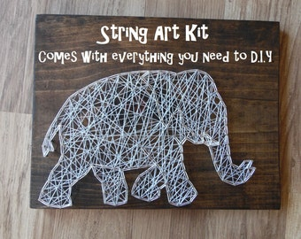DIY Elephant String Art Kit, DIY String Art Kit, String Art Kit, Elephant String Art Kit, String Art Kit Elephant, DIY Elephant Decor Kit