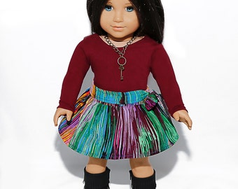 American made Girl Doll Clothes, 18 inch Doll Clothing, Burgundy Top, Circle Skirt made to fit like American girl doll clothes