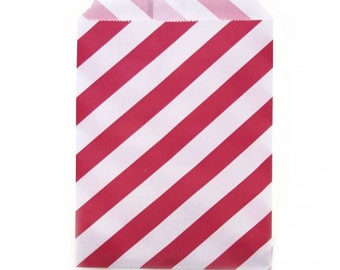 Favor Bags | Red Stripe Party Favor Bags | 24 Red and White Stripe Treat Bags | Favor Sacks | Recyclable & Biodegradable | The Party Darling