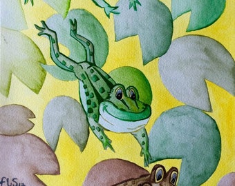 Leap Frog, Original And Handmade Watercolour Illustration