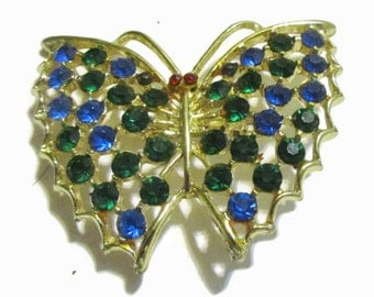 Butterfly Brooch, Vintage Rhinestone Pin,  Sapphire, Emerald,1970s-1980s, Gold Tone,  Figural, Statement