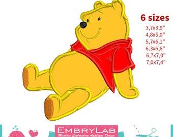 Applique Winnie The Pooh. Machine Embroidery Applique Design. Instant Digital Download (16311)