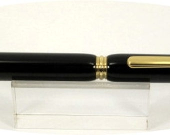 Handcrafted Slimline Pen turned with Black acrylic.