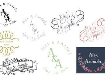 Custom Wedding Logo Design, Custom Logo, Wedding Logo, Wedding Logo for Napkins, Cups, etc.