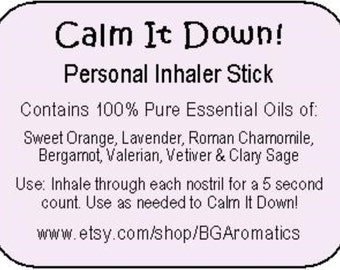 Personal Inhaler Stick, Essential Oil Inhaler, DeStress Inhaler Stick, Calming Inhaler Stick, Relaxing Inhaler Stick