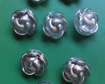8 small old silver iridescent / glass buttons - flower - beautiful motif