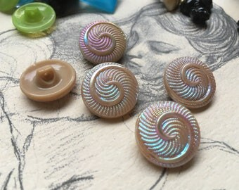 5 old collector / glass buttons with iridescent patterns - Artdeko (135)