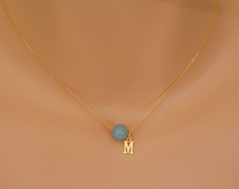 Aquamarine Necklace gold March Birthstone Necklace Personalized Necklace gold march Birthstone Jewelry aquamarine choker aquamarine jewelry