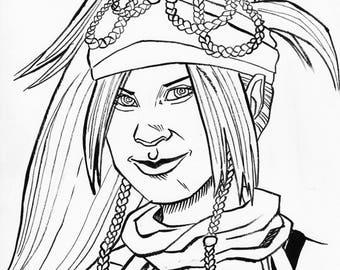 """Rikku 7"""" x 10"""" Drawing"""