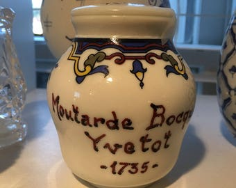 Moutarde Bocquet Yuetot, Mustard Jar, Dijon Mustard, Milk Glass