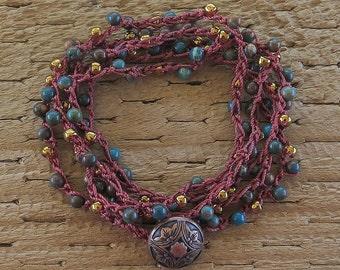 Crochet Bracelet, Beaded Wrap Bracelet, Boho Bracelet, 5 Wrap Bead Bracelet, Green Brown Jewelry, Gemstone Bracelet