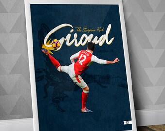 Olivier Giroud / Giroud Scorpion Kick / Arsenal FC / Illustration Poster Print / Gunners / Giroud print / Giroud Poster