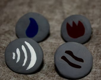 Runescape Rune Pins - Earth, Air, Fire, and Water Runes! Hand Painted! Made of Clay!