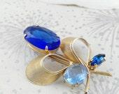 Mid Century Brooch   Blue Glass Brooch  Abstract Brooch   Mad Men Brooch  Golden Blue  Brooch  Blue Stone Brooch  Modernist Brooch