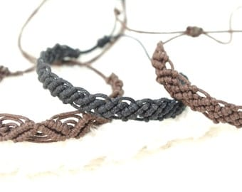 micro macrame waxed cotton black or Brown, adjustable bracelet
