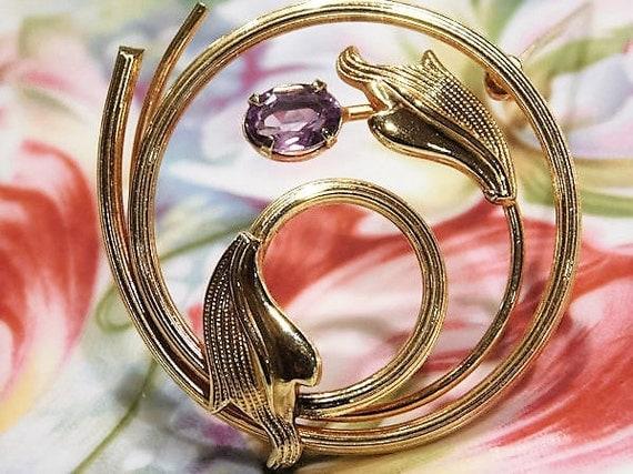 Art Deco Brooch /  Amethyst Brooch /  AMCO 14K Gold Filled GF Brooch / February Birthstone